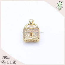 Charming And Magnetic Lock Plated Gold Sterling Silver Pendant
