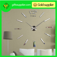 Gold,Black,Silver Color Mirror Wall Clock Luxury Home Decor 3D Big Wall Sticker Clock For Home Decoration