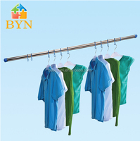 Bonunion extendable stainless steel clothes hanging rod 0132-1