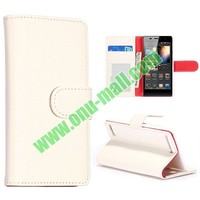 Pure Color Litchi Grain Pattern Flip Stand Leather Case for Huawei Ascend P6 Case