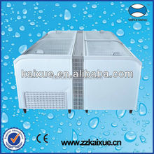 2.1m length auto defrost curved glass supermarket display freezer