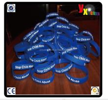 STOP CHILD ABUSE Blue Silicone Wristband Bracelet /love photo frame
