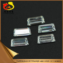 Wholesale Manual Cutting White Tapper Step cut Rough cubic zirconia CZ Gemstones
