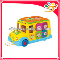 Mini Plastic Electric Intellectual Education School Bus Toy For Kids