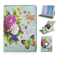 "Stylish Lucky Flowers Case With 360 degrees Rotating Swivel Stand For Galaxy Tab A 9.7"" T550"