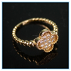 Gold Plated Charm Clovers Engagement Jewelry Rings for Girl