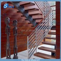 Modern indoor steel wood stairs / staircase straight stair wood tread steel railing