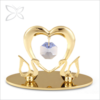 Artistry Standard Gold Plated Metal Crystal Swans Wedding Gifts