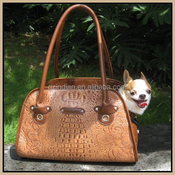 Outerside Dog Handbag , Croco grain leather Pet carrier ,dog travel bag