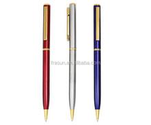 Slim logo promotional metal ball pen hotel pen souvenir
