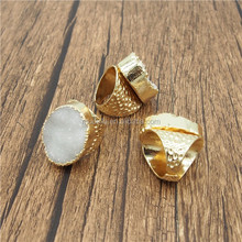 C150505066 White Druzy on 24k Gold Electroplated Adjustable Cigar Wide Band Ring -- Statement Ring