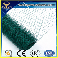 Green PVC coated galvanised hexagonal shape chicken wire netting
