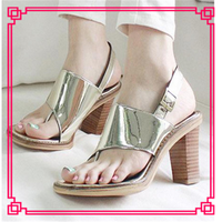 Gold sexy korean women thick heel sandals more than $1 dollar shoes