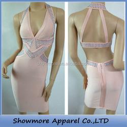 Style No.G087 sexy halter rhinestone pink bandage dress