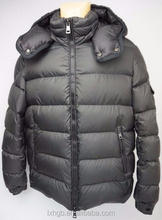 mens fashion winter Down Jacket Puffer Black snap-detachable hood banded trim tops a matte-finished down-insulated jackets