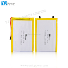 China high power track thin battery3.7v high Capacity 3000mah 5000mah lithium battery with 6.2*65*97mm YJ 3.7v 5000mah 626597