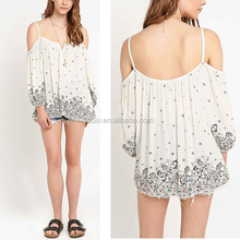 Charming bohemian printed casual wear loose fit strappy blouse women shirt model
