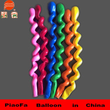 2015 hot sell self inflating magic spiral balloons yellow high quality latex balloons manufacturers Christmas decorations