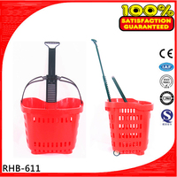 Easy to moving plastic supermarket basket with wheels