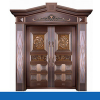 Modern house exterior door double tempered glass pure copper door villa entry front door design