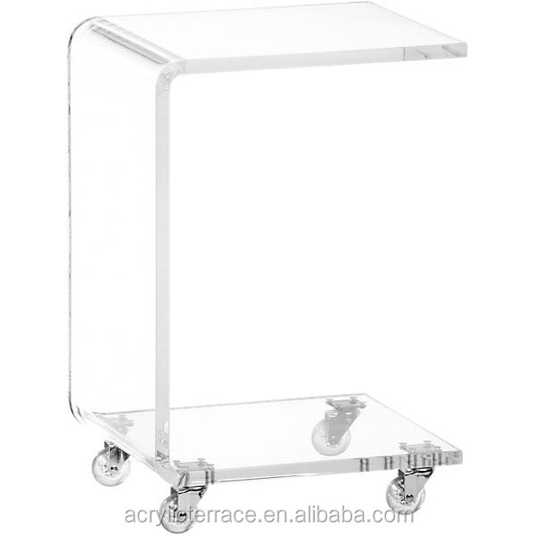 Superb Plain And Elegant Clear Transparent Acrylic Perspex Lucite Bedside Table On  Casters With Wheels 29x29 60h
