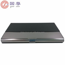 PU Leather Surface Stainless Steel Business Card Name Card Case/Holder with Mirror Finish Inset