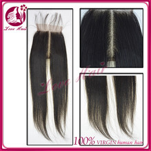 chic design single donor virgin hair middle part lace closure hair cutting middle straight part style Can be dyed black color