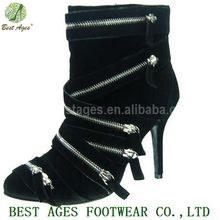 2014 New Products Sheep Skin Suede Zipper High Heel Platform Genuine Leather Boots Woman