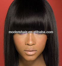 Hot Sale 20inch straight virgin peruvian human hair full lace wig with bang