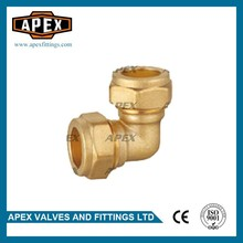 High Quality Wholesales Price APEX 15mm*15mm Forged 90 Degree Equal Brass Compression Elbow