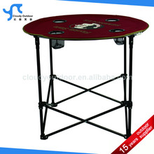 outdoor light weight steel fabric adjustable height round folding table