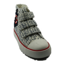 wholesale factory china simple navy style high cut velrco casual sneaker slip on girls stylish shoes