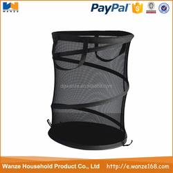 Folded and mesh pop up laundry storage hamper