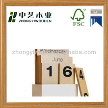 FSC natural wood perpetual wooden calendars