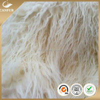 Artificial Curly long pile plush fake sheep fur fabric