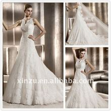 New Design High Neck Ivory Lace Wedding dress T-3072