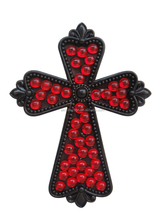 Resin wall cross stick red acrylic beads ; Wholesale polyresin and acrylic crucifix