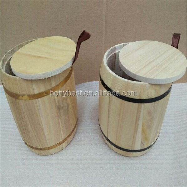 Display Wood Coffe Bean Barrel,Wood Bucket with Silk Handle and Hoop HY1171-4.jpg