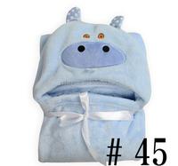 Blue Cartoon Cow face pattern Heated coral fleece Baby Blankets