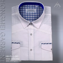 2015 latest design mens non iron white cotton shirt with pockets