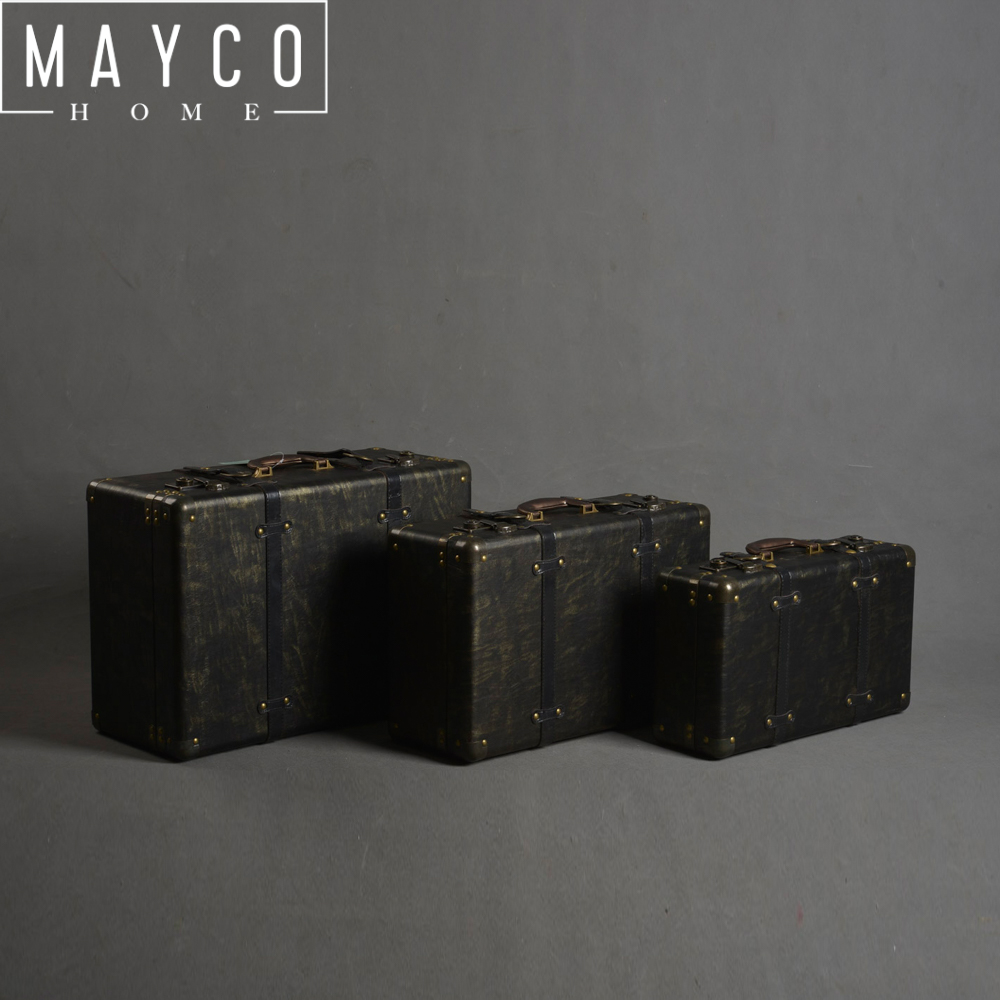 Mayco 3 Pièce Décorative Vintage Noir Rétro En Cuir Tronc Valise avec Métal Lock Set