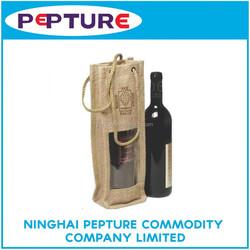 Jute material red wine bottle bag
