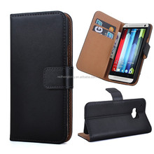 Factory Price Genuine Wallet Flip Leather Phone Case for HTC ONE M9