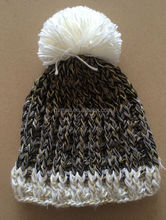 Women's Shiny Metallic Lurex Mixed Chunky Crochet Melange Pompom Hats