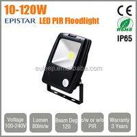 LED Foodlight Projector 10W 20W 30W 50W 70W 80W 100W 120W with or without PIR Motion Detector Security Sensor
