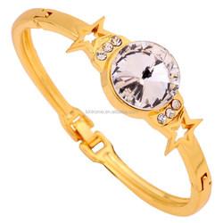 Jewelry Manufacaturer Shiny Crystal Charm Bracelet 9K Yellow Gold Filled Star Shape Bangle Bracelet for Gift Wedding