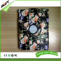 Hottest Modern Style Flower Design Magnetic 360 Rotating Flip Stand PU Leather Case for iPad Air,for iPad Air 2 Leather cover