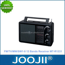 Portable FM/TV/MW/SW1-9 12 Band Radio receiver with DC jack