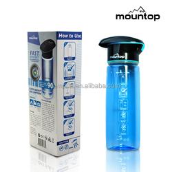 750ml Fancy design sports filter water bottle/uv water bottle for travel/hiking/camping