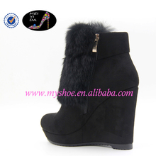 Rabbit hair fashion women shoes with slope